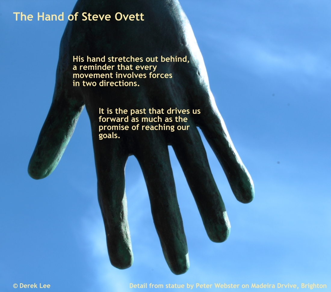 photo of hand of Steve Ovett from statue in Brighton, with poem